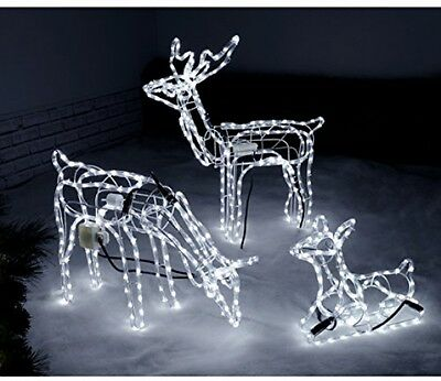 Outdoor Light Christmas Decoration Set Of 3 Pre-Lit Reindeer Family Winter Party
