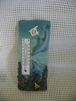 DOLPHIN THERMOMETER temperature gauge wall decor vtg water ocean sea fish marine