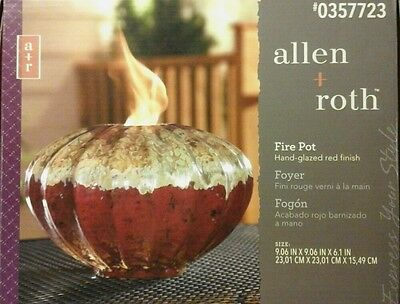 Allen + Roth Glazed Red Ceramic Fire Pot 0357723