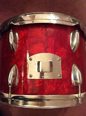 Vintage Drum Mate Star Tama 12 x 8 inch Tom Made In Japan Red Marble Swirl 1960s