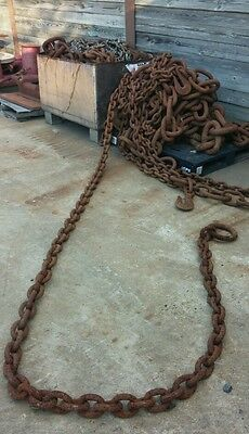 22Ft -+ feet  HUGE RUSTY ANCHOR LOG LOGGING TOW CHAIN SHIP BOAT,Nautical 180+lbs