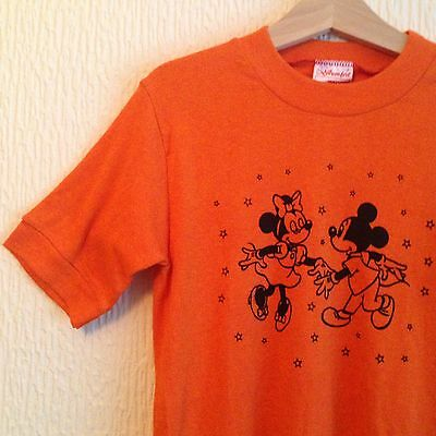 Vintage Deadstock Kids 70s Unisex Mickey Minnie Mouse Disney Orange TShirt Top 8