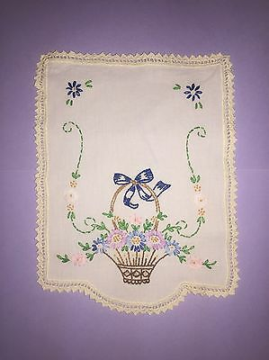 Vintage Hand Embroidered Doilie With Crocheted Trim Edges Basket Flowers Bow