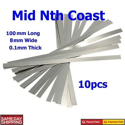 10pc 8mm Nickel Plated Steel Strips For Battery Repairs ie 18650 0.1 x 8 x 10cm