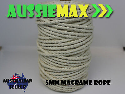 5mm Macrame Rope 100% Natural Cotton Cord 65 Meters
