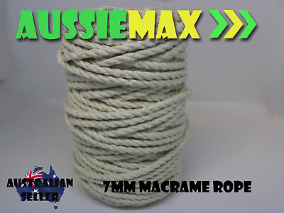 7mm Macrame Rope 100% Natural Cotton Cord 45 Meters