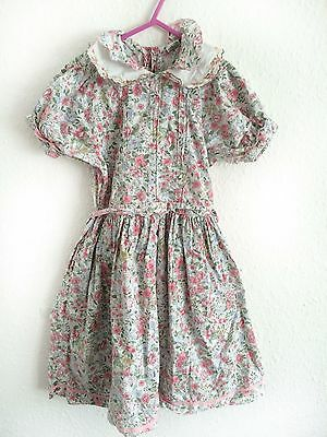 Vintage French Pink Peter Pan 80s 90s Summer Girls Folk Cotton Dress 4 Y