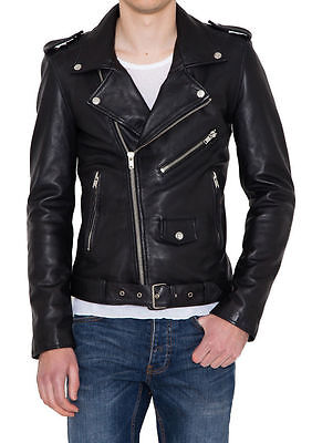 Men Leather Jacket Black Slim Fit Biker Style Genuine lambskin Jacket