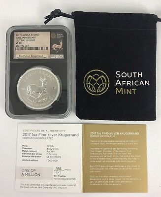 2017 South Africa 1 Oz Silver Krugerrand SP69 FIRST DAY OF ISSUE Specimen Proof