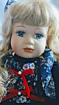 Rare Anco Porcelain Collectors Doll Limited Edition Blonde Dark Blue Velvet