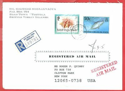 British Virgin Islands $1 CRAB + 50c TUNA Fish used on Registered cover to USA