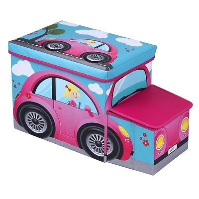 Jocca Kids Storage Toy Box, Pink Car Design, Doubles as a Seat, Girls Chest