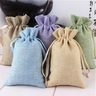 5pcs Burlap Linen Jewelry Travel storage Pouch Mini jute Packing Bags for Gift