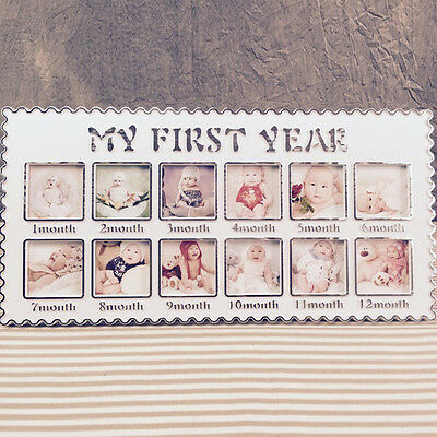 Baby MY FIRST YEAR Photo Frame Multi PICTURE DISPLAY for 12 Months WHITE frame