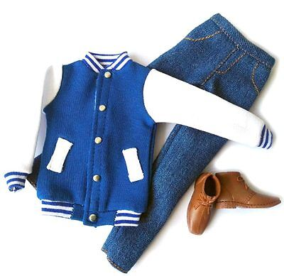 Barbie Doll Fashion Clothes Coat Blue Baseball Jacket Pants Set For KEN Dolls