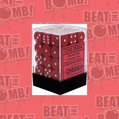 D6 Dice Opaque 12mm Red/white (36 Dice In Display)  - BRAND NEW