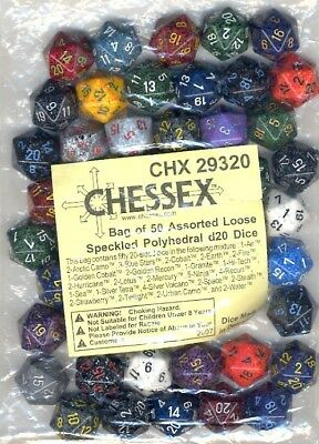 Bulk D20 Dice Assorted Loose Speckled Polyhedral (50 Dice In Bag)  - BRAND NEW