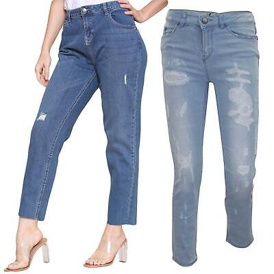 Ladies Stretch Jeans Ripped Repair Zip Fly Womens Cotton Denim Trousers Pants