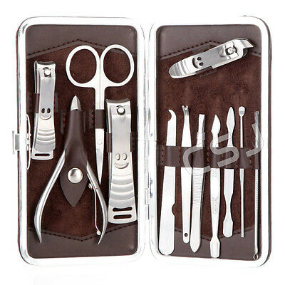 12in1 Men's Manicure Pedicure Set Finger Toe Nail Clippers Scissors Grooming Kit