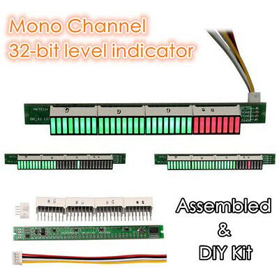 32-bit Level Indicator Panel VU Meter Mono Channel LED DIY Kit / Assembled Board