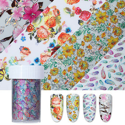 Holographic Starry Nail Foils Colorful Flower Nail Art Transfer Sticker Decor