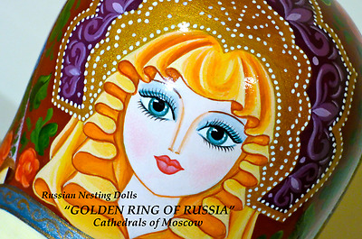 "Russian Nesting Dolls ""GOLDEN RING of RUSSIA""(Matryoshka)Traditional 10 Doll Set"