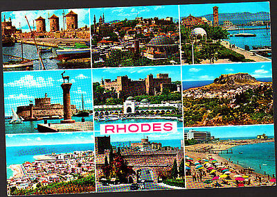 Vintage  Postcard, Greece, Rhodes Multiview