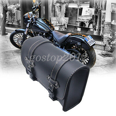 Universal Motorcycle Saddle Leather Side Bag Storage Tool Pouch For Harley