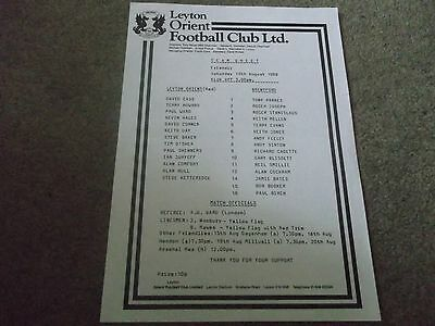 Leyton Orient V Brentford Pre Season Friendly 13Th August 1988