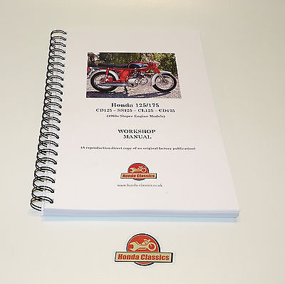 Honda CD125 SS125 CL125 CD175 Sloper Workshop Shop Manual Book. Repro. HWM053