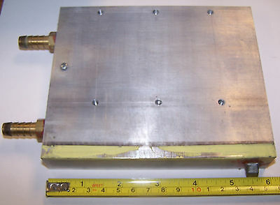 """1 Air or Water Cooled Aluminum Heatsink 1"""" H x 6"""" W x 5""""  With Holes Used #205"""