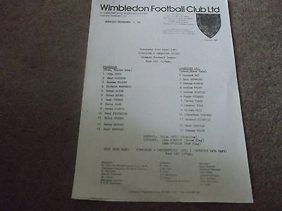 Wimbledon V Cambridge United Reserves Midweek League 21St April 1982
