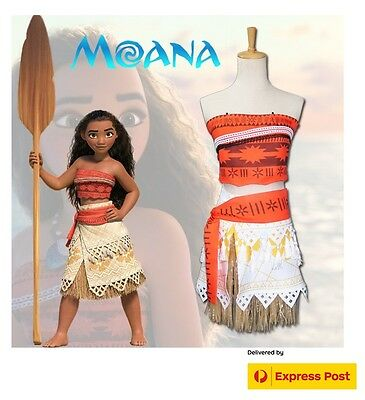 Women Girls Disney Moana Polynesia Princes Costume Cosplay Dress Up Book Week