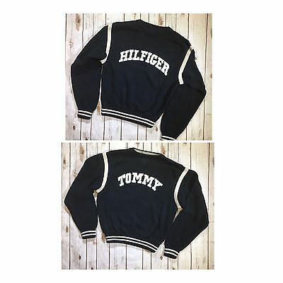Vtg Tommy Hilfiger Mens Sz XL Spell Out Sweater Chunky Knit Navy Blue White 90s