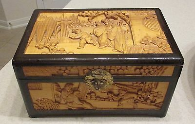 Beautiful High Quality Asian Hand Carved Wood Chinese Chest Box