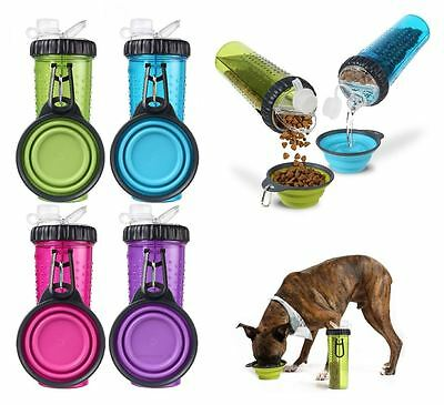 Dexas Popware Snack-DuO Portable Travel Pet Dog Puppy Food / Water Bottle & Bowl
