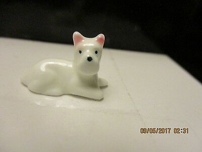 Miniature White Dog From Bug House Figurines