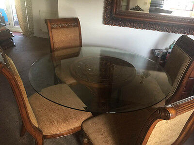 Glass Top, Round, Dining Table with 4 Chairs