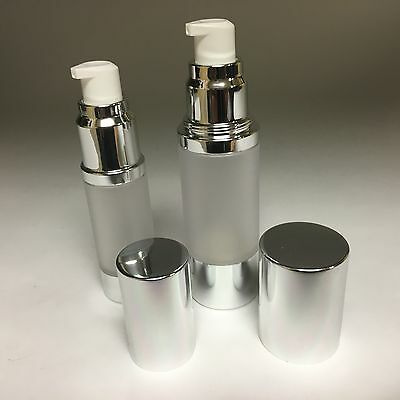 FROSTED AIRLESS LOTION / PUMP BOTTLE, SILVER COLLAR AND CAP 15 - 30 - 50 - 100ml