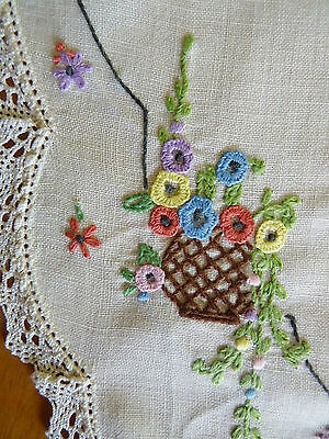 PRETTY FLOWER POT Hand Embroidered Large Doily on White Cotton VINTAGE