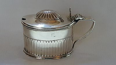 Sterling silver vintage George III antique drum shaped mustard pot