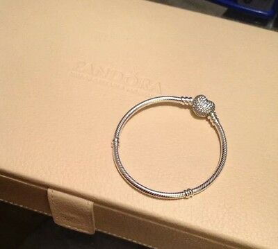 Genuine 16cm Pandora Moment Bracelet With Pave Heart Clasp (590727CZ)