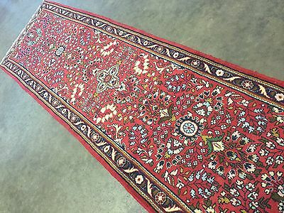 "2'.9"" X 9'.8"" Red Navy Blue Persian Hamadan Oriental Rug Runner Hand Knotted"