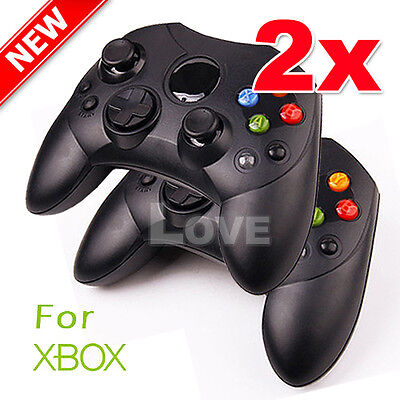 2x Dual Shock Gamepad Wired Game Controller Joypad for Microsoft XBOX Black