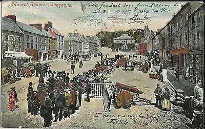 Busy Market Square, Dungannon, County Tyrone, N Ireland, on 1905 colour postcard