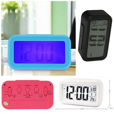 Light Mute Date Temperature LED Digital Display Alarm Clock Snooze Function