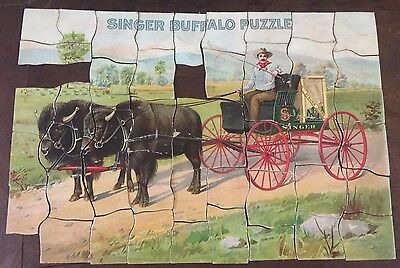 Antique Early 1900s SINGER BUFFALO PUZZLE Sewing Advertising COMPLETE w ENVELOPE