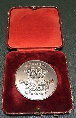 Soviet Russia Order 50th Anniversary of the October, table medal, 1967, silver