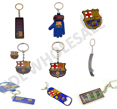 FC Barcelona Keyring Badge Bag Charm Door Key Bottle Opener Torch Leather Gift