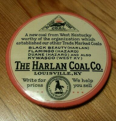 VTG Harlan Coal Celluloid Pocket Mirror Paperweight Louisville KY Neat Graphics!